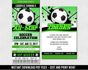 Soccer Football Ticket Invitations Birthday Party - (Instant Download) Editable and Printable PDF Files - Bonus Thank You Card