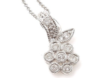 Vintage Diamond Flower Necklace - 18K White Gold and Diamonds Floral Pendant with 14K Chain - Spring - Sweetheart - Valentines # 4342