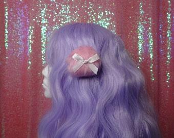 Kawaii Larme Single Pink Powder Puff Hair Clip White Bow Faux Fur