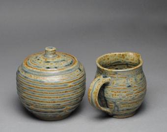 Sugar and Creamer Set Handmade Stoneware Blue Ash F80