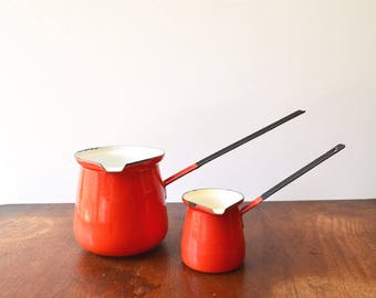 2 Red Enamel Butter Warmer / Ladle / Dipper / MADE IN POLAND