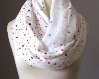 Light Infinity Scarf, tossed dots Scarf, white Scarf, colorful Circle Infinity Scarf, spring scarf, summer scarf