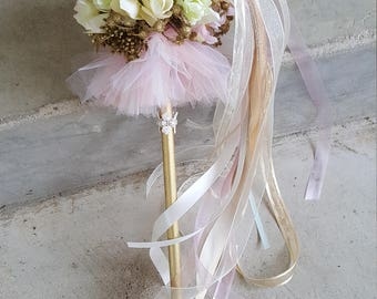 Ivory Blush Tutu Flower Girl Pom Wand Custom Order