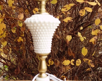 Hob Nail, Milk Glass, Accent Lamp, Cottage Chic, Shabby Chic, Boudoir Lamp, Dresser Lamp, Vintage, Lamp, Light, Lighting