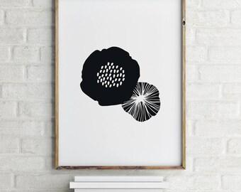 Flower Illustration, Scandinavian Print, Black and White, Digital Download Large Downloadable Poster, Instant Download, Minimal Design Print