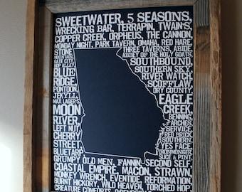 Beers of Georgia Word Map (Dark Blue) - Unframed