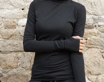 NEW Cotton Sexy Black Turtle neck fitted Top / Exclusive Soft  Fabric / Extra Long Sleeves /Thumb Holes by AAKASHA A12523
