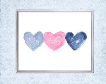 Pink and Navy Prints, Pink and Navy Nursery Art, 8x10 Print, Brother Sister Gift, Navy and Pink Nursery Decor, Triplets Print, Triplets Gift