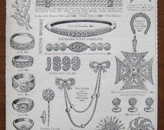 Faulkner Diamonds, 1899, vintage, ad, original, jewelry, women, English, diamonds, advertisement, free shipping, paper, ephemera