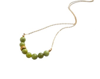 Olivine Jade Necklace, Serpentine Necklace, Beaded Necklace Handmade, Jade Bead Necklace, Gemstone Necklace, Boho Necklace, Gift for Her