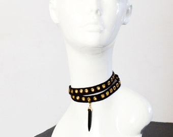 double wrap choker, gold choker, charm necklace, indie boho bohemian retro dagger necklace, rocker style edgy hippie jewelry 90s jewellery