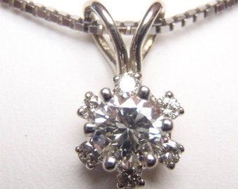 Exquisite Three Quarter Carat VS2 - SI1 Diamond 14K Pendant Wedding Bridal Anniversary Birthday