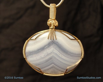 Blue Lace Agate in Gold-Filled Wire