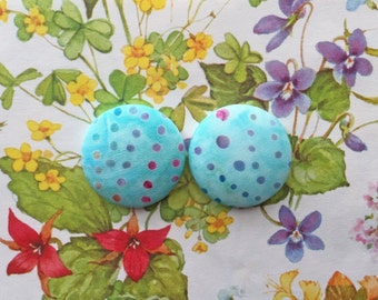 Wholesale Button Earrings / Blue Batik / Handmade Jewelry / Fabric Covered / Stud Earrings / Extra Large / Hypoallergenic Posts / Bulk