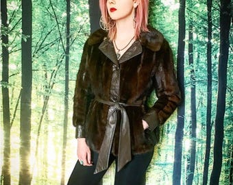 1970s Leather/Mink Fur Cropped Wrap Around Jacket