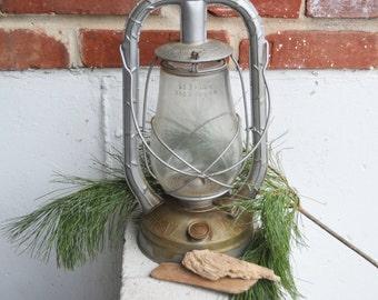 Vintage Rustic Dietz U.S.A. Monarch Silver Gray Lantern