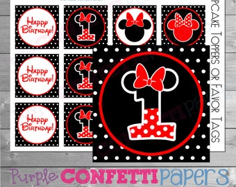 Minnie Mouse Cupcake Toppers, Minnie Cupcake Topper, Minnie First Birthday, Minnie 1st Birthday, Minnie Favor Tags, Red, Black, Printable