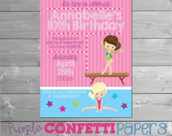 Gymnastics Birthday Invitation, Gymnastics Invitation, Gymnastics Party, Gymnastics Invite, Gymnastics Theme, Gym Invitation, Printable, Gym