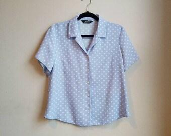 Blue Polka Dot Blouse Vintage White Spots Baby Blue Button Up Collared Shirt Dotty Retro Polka Dot Women's Short Sleeve Light Blue Pastel
