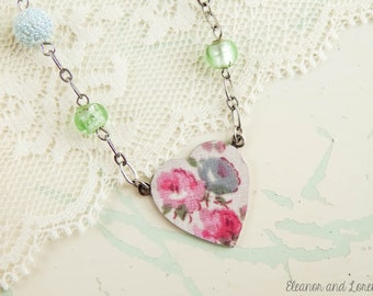 Shabby chic heart necklace / shabby chic jewelry / cottage chic / repurposed jewelry / shabby necklace / vintage beads / upcycled necklace