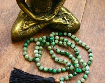 Green Kyanite Knotted Gemstone Mala Necklace 108 Beads Tassel Mala Meditation Prayer Beads Japa Yoga Jewelry Spiritual Crystal Rosary