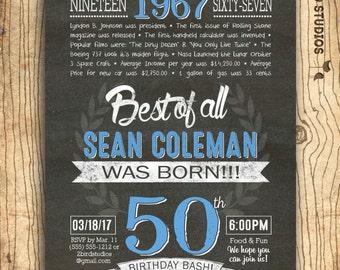 50th birthday invitation- Surprise 50th birthday invite - 50th birthday invitation for him - addon poster decoration or gift idea for him