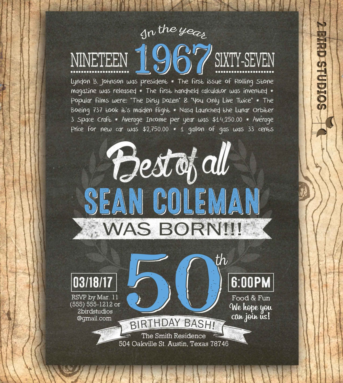 50th Birthday Invitation Surprise 50th Birthday Invite 50th