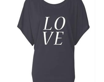 LOVE. Dolman Style Top. Oversize Fit T-Shirt. Slouchy Wideneck Top. Grey Shirt or Black