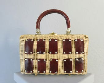 1950s Wicker Handbag Lady Wiltshire w/Leather Handles Trimming/Brass Studs/Made in British Hong Kong/Spring/Summer/Midcentury/Retro