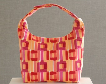 Work Lunch Bag, Lunchbag, Insulated Lunch Tote, Small Purse, Women Lunch Bag, 60s 70s Style Red Pink Peach Geometric Shape