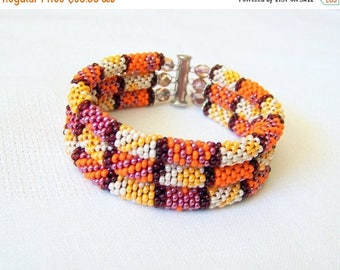 15% SALE Beadwork - 3 Strand Bead Crochet Rope Bracelet in orange, red and beige - beaded bracelet - seed beads jewelry