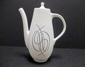 Caribe China Casual Shape Atomic Black Swirl Line and Dots Pattern - Coffee Pot with Lid