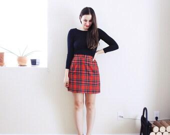 Red Plaid Pencil Skirt . 1980 Micro mini skirt Plaid mini skirt Micro mini skirt High Waisted mini Skirt high waist pencil skirt plaid Skirt