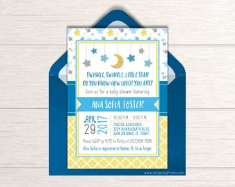 Twinkle Twinkle Little Star Baby Shower Invitation - Printable Moon & Stars Invite - Baby Sprinkle - Gender Neutral Baby Shower Ideas - BS44