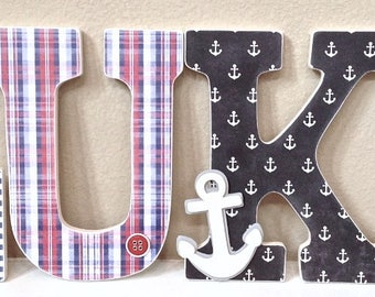 Nautical Baby Boy Name, Wooden Wall Letters - Personalized Baby Gift, Custom Name, Boy Nursery Decor, Kids Wall Art-any color and theme