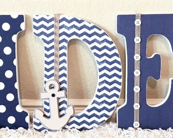 Nautical Nursery Letters Room Decor Wooden Personalized Baby Gift Custom