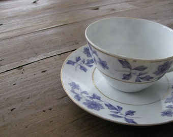 Vintage Tiny Purple, White & Gold Tea Cups and Saucers Made in Swatow China