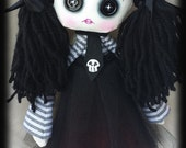 Reserved Creepy cute goth doll Mara handmade zombie doll with black button eyes and skulls. Goth rag doll. Goth cloth doll. Zombie rag doll