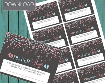 DIAPER RAFFLE TICKET match invite gender reveal party joint shower gender reveal invitation