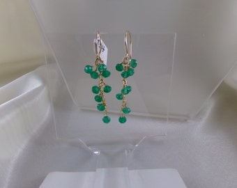 Green onyx dangle gold filled earrings gemstone handmade  item 934