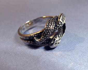 Snake Ring Size 5 Double Snakes Knot Celtic Women's Gothic Jewelry Vintage Silver Plated Snakes