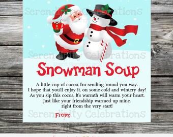 Printable Snowman Soup Tag, Snowman Soup Favor Tag, Snowman soup, Christmas Treat Tags, Instant Download, snowman soup sticker, Santa claus