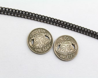 Los Angeles Metro Transit Token Necklace (c. 1950's-1970's) - Vintage MTA - California - Free Shipping