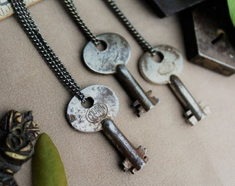 Corbin Padlock Key Necklace | Late 1800's | Gunmetal Steel or Antique Brass Chain | Skeleton Keys | Steampunk | Victorian | Limited #'s!