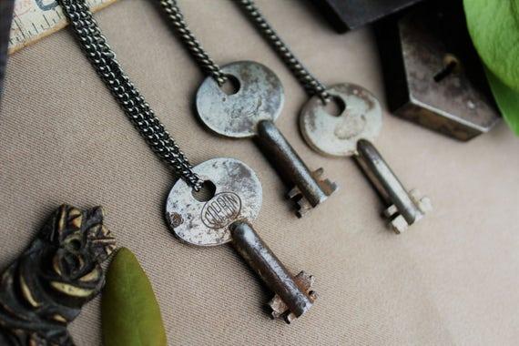 Corbin Padlock Key Necklace | Late 1800's | Gunmetal Steel or Antique Brass Chain | Skeleton Keys | Steampunk | Victorian | Limited #'s!