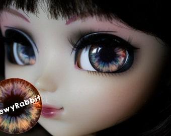 12, 13 & 14mm Glass Realistic Blue Gold Eyechips for Pullip Blythe Taeyang Dal Isul - handmade Eye Chips