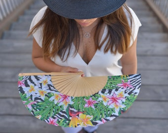 Designer HAND FAN | floral jungle print | fashion accessories | unique gift for her | bird of paradise | flowers | Free Shipping Worldwide