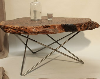 Redwood Live Edge Burl Coffee Table On Iron Mid Century Base, Other Slabs  Available