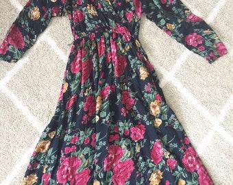 Gorgeous 80's Navy Wrap Dress Bold Color Floral Long Sleeve Boho