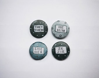 """Pronouns He/Him She/Her They/Them Ze/Zir 1"""" Pins (Set of 2)"""
